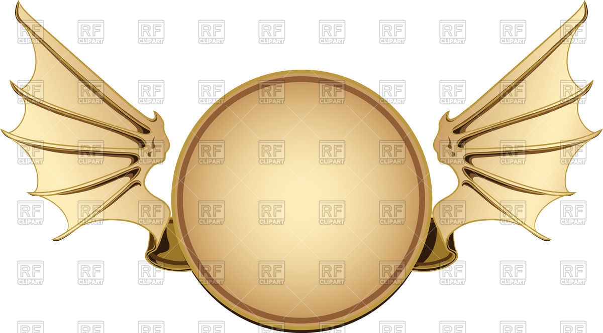 1200x664 Round Frame With Bat Wings Vector Image Vector Artwork Of