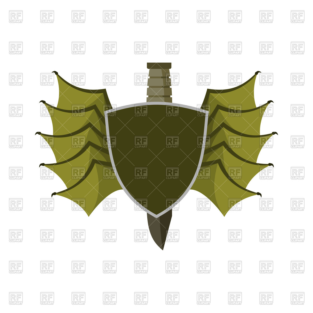 1200x1200 Shield And Bat Wings Emblem Vector Image Vector Artwork Of Icons