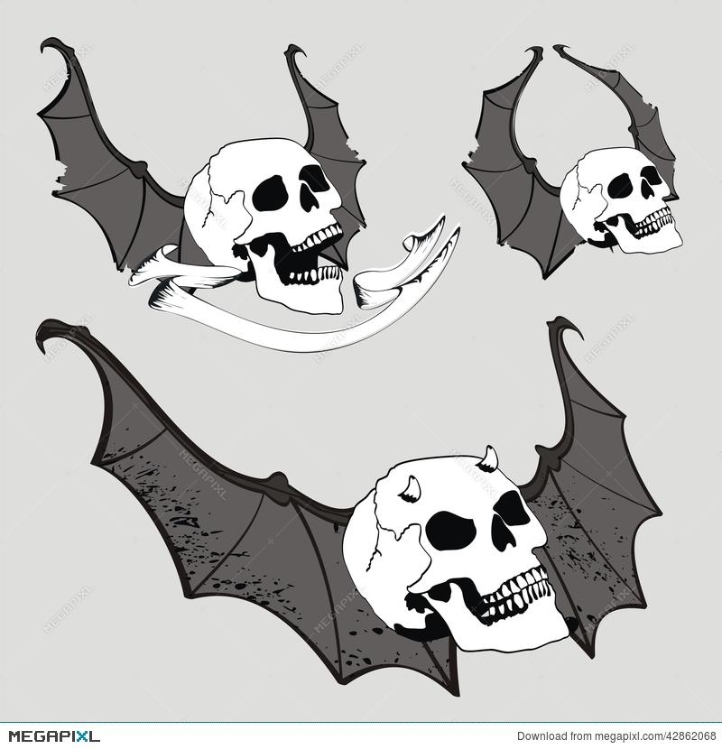 800x830 Skull Bat Wings Set Vector Set2 Illustration 42862068