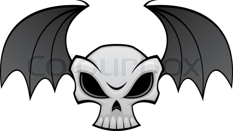 800x451 Vector Cartoon Illustration Of A Skull With Bat Wings Stock