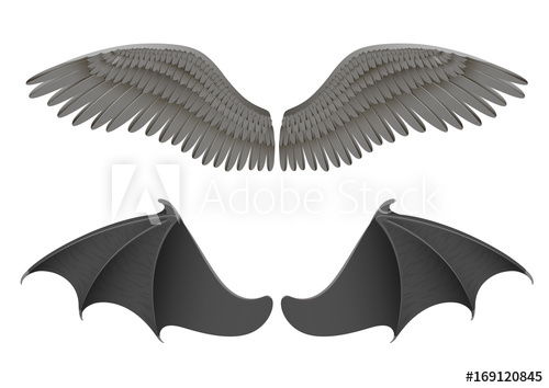 500x354 Vector Illustration Of Black Angel And Bat Wings