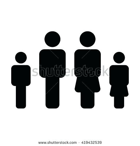 450x470 Family Bathroom Symbol Family Icon Vector Flat Color People Sign