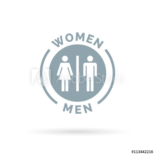 500x500 Men And Women Toilet Icon. Male And Female Restroom Sign. Man And