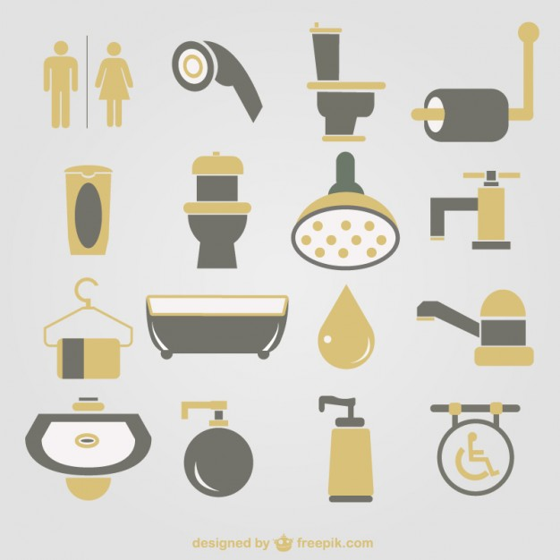 626x626 Bathroom Icons Vector Free Download