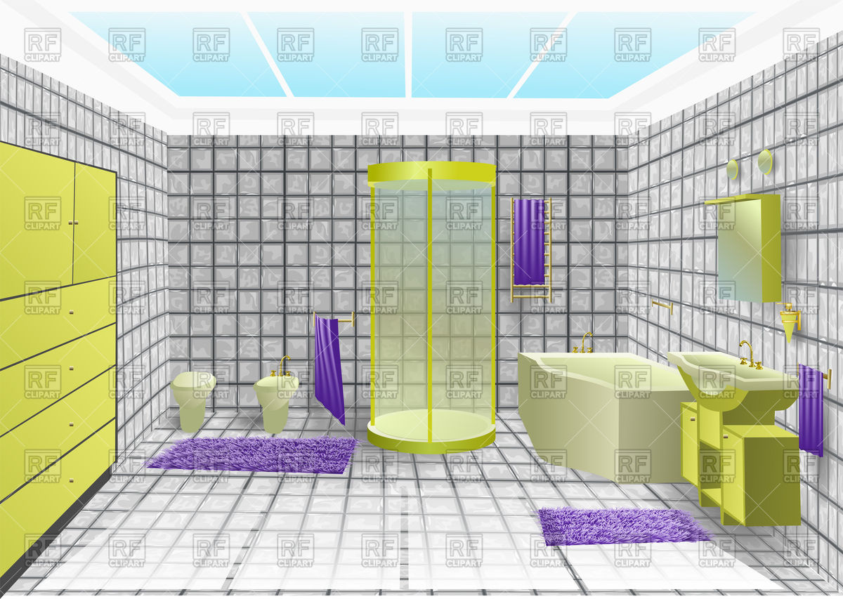 1200x853 Bathroom Interior With Green Sanitary Vector Image Vector