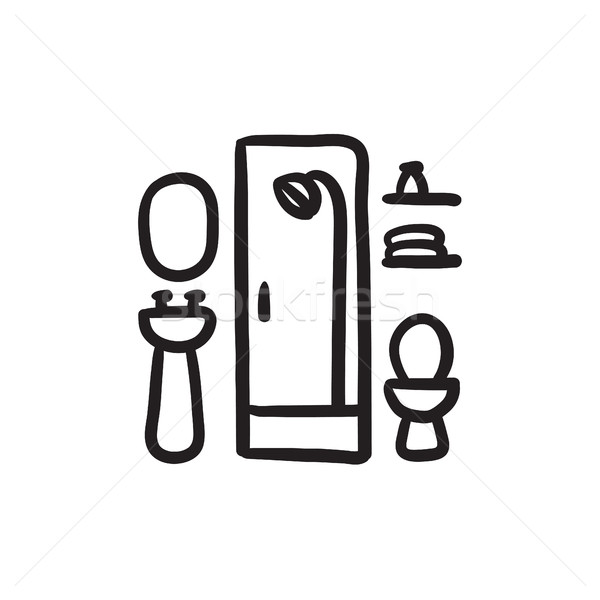 600x600 Bathroom Sketch Icon. Vector Illustration Andrei Krauchuk