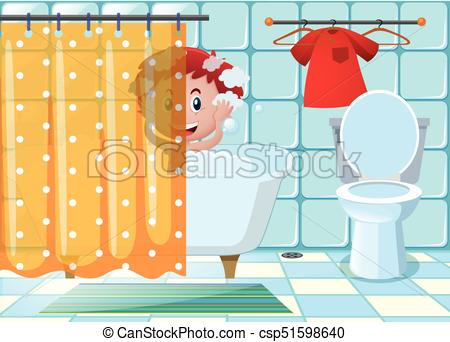 450x342 Boy Taking Bath In Bathroom Illustration.