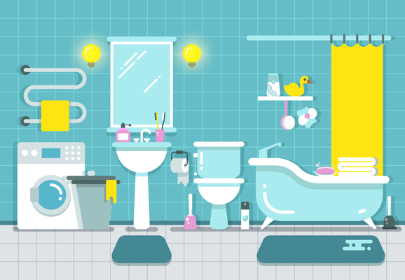 578x400 Page 1 Bathroom On Curated Vector Illustrations, Stock Royalty