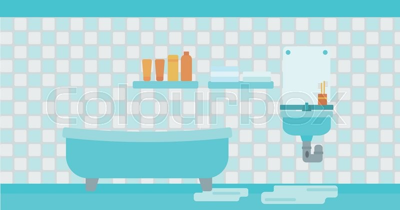 800x419 Background Of Leaking Sink In The Bathroom Vector Flat Design