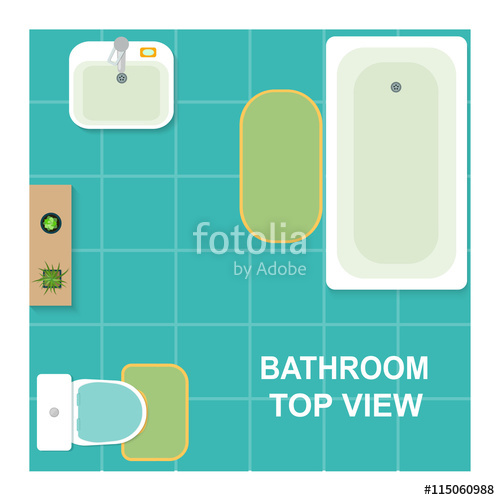 500x500 Set Of Furniture For Bathroom. Top View Of Bathroom.vector Flat