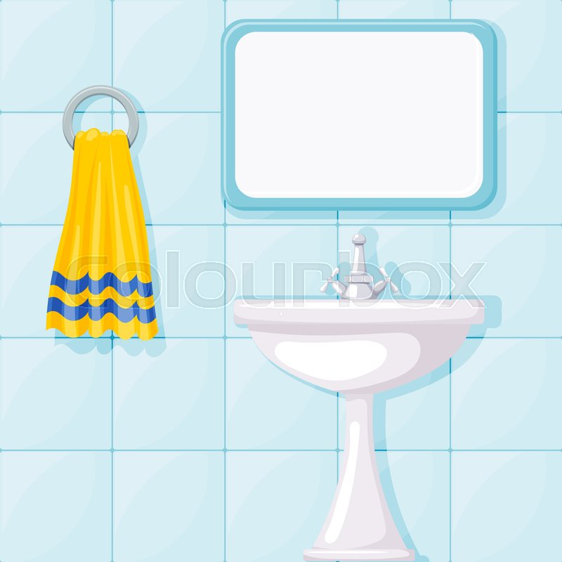 800x800 Vector Illustration Of Bathroom Ceramic Wash Basin, Tiled Walls