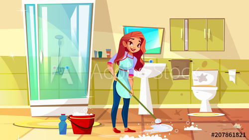 500x282 Woman Cleaning Bathroom Vector Illustration Of Housewife Mopping