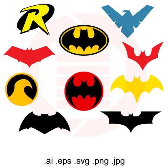 570x570 Superheroes Svg Clipart Batman Robin Logo Symbol Vector Etsy