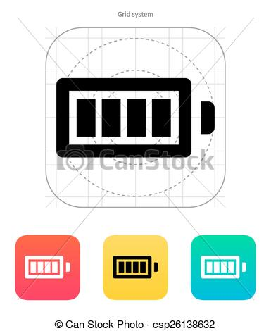 385x470 Full Charge Battery Icon. Vector Illustration. Full Charge Battery