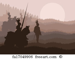 247x194 Free Art Print Of Medieval Knights In Battle Vector Background