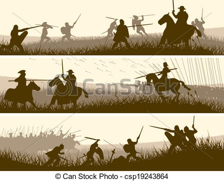 450x363 Banners Of Medieval Battle. Horizontal Vector Banners Of Battle