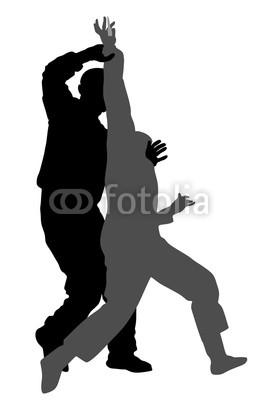 256x400 Self Defense Battle Vector Silhouette Illustration. Man Fighting