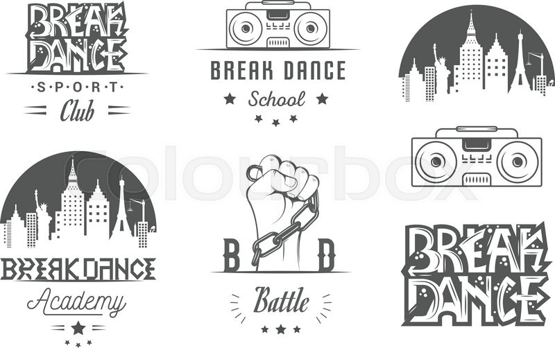 800x502 Set Of Breakdance Bboy Silhouettes In Different Poses. Collection