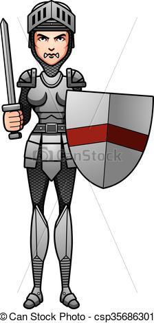 224x470 Cartoon Knight Battle. A Cartoon Illustration Of A Female