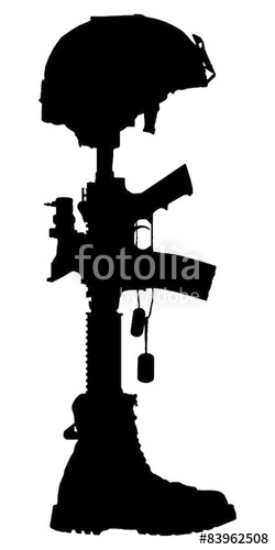 250x500 Silhouette Of The Cross Of The Fallen Soldier. Stock Photo And