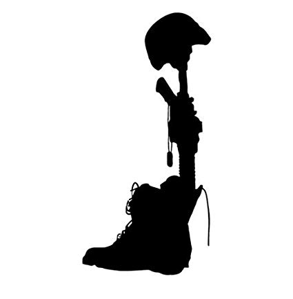 425x433 Military Battlefield Cross Silhouette Vinyl Decal