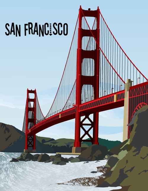 500x647 Golden Gate Bridge Vector Illustration By Romo Places