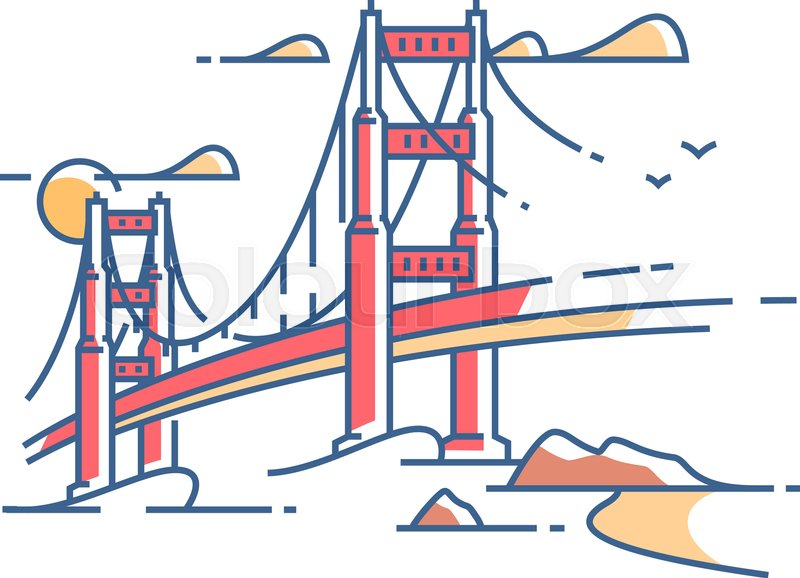 800x578 Golden Gate Bridge To San Francisco For Crossing Bay. Vector