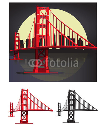 340x400 San Francisco Bay Golden Gate Bridge Vector Illustration Pack