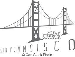 257x194 San Francisco Oakland Bay Bridge And Buildings Vector Illustration.