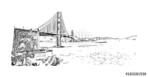 500x261 Sketch Of The Golden Gate Bridge Is A Suspension Bridge Spanning