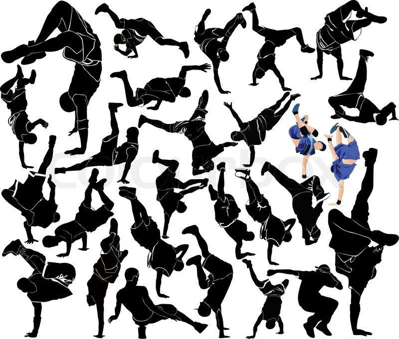 800x681 Collection Breakdance Silhouette Break Dance Stock Vector
