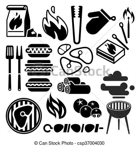 450x470 Black Barbecue, Food Flyer, Bbq Vector Icons. Food Bbq Grill And