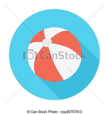 450x470 Beach Ball Icon. Flat Vector Related Icon With Long Shadow
