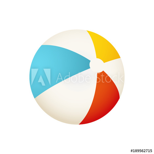 500x500 Colorful Beach Ball Vector Illustration. White, Red, Yellow And