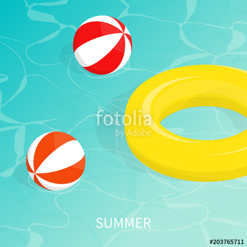 500x500 Hello Summer Isometric Pool Float Beach Ball Vector Stock Image