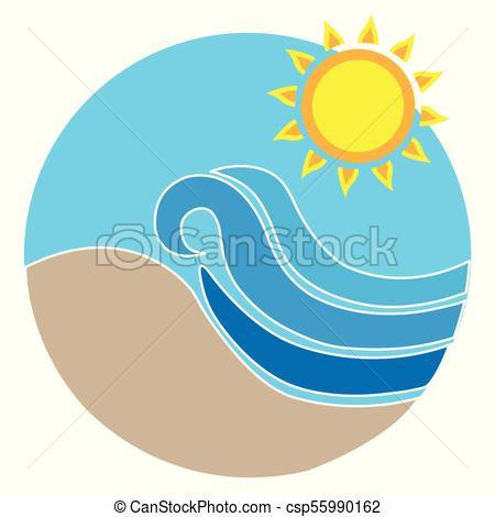 450x470 Summer Beach Logo. Vector Illustration Of Summer Beach Warm