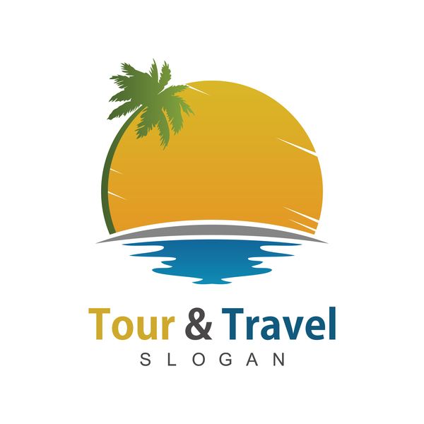 600x600 Tour With Travel Beach Logo Vector Free Download