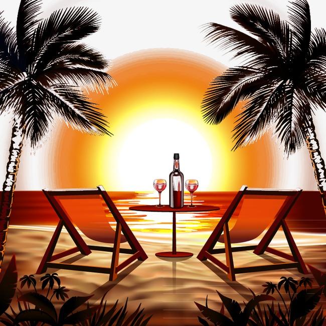 650x650 Vector Illustration Beach Sunset, Sunset, Sandy Beach, Chair Png