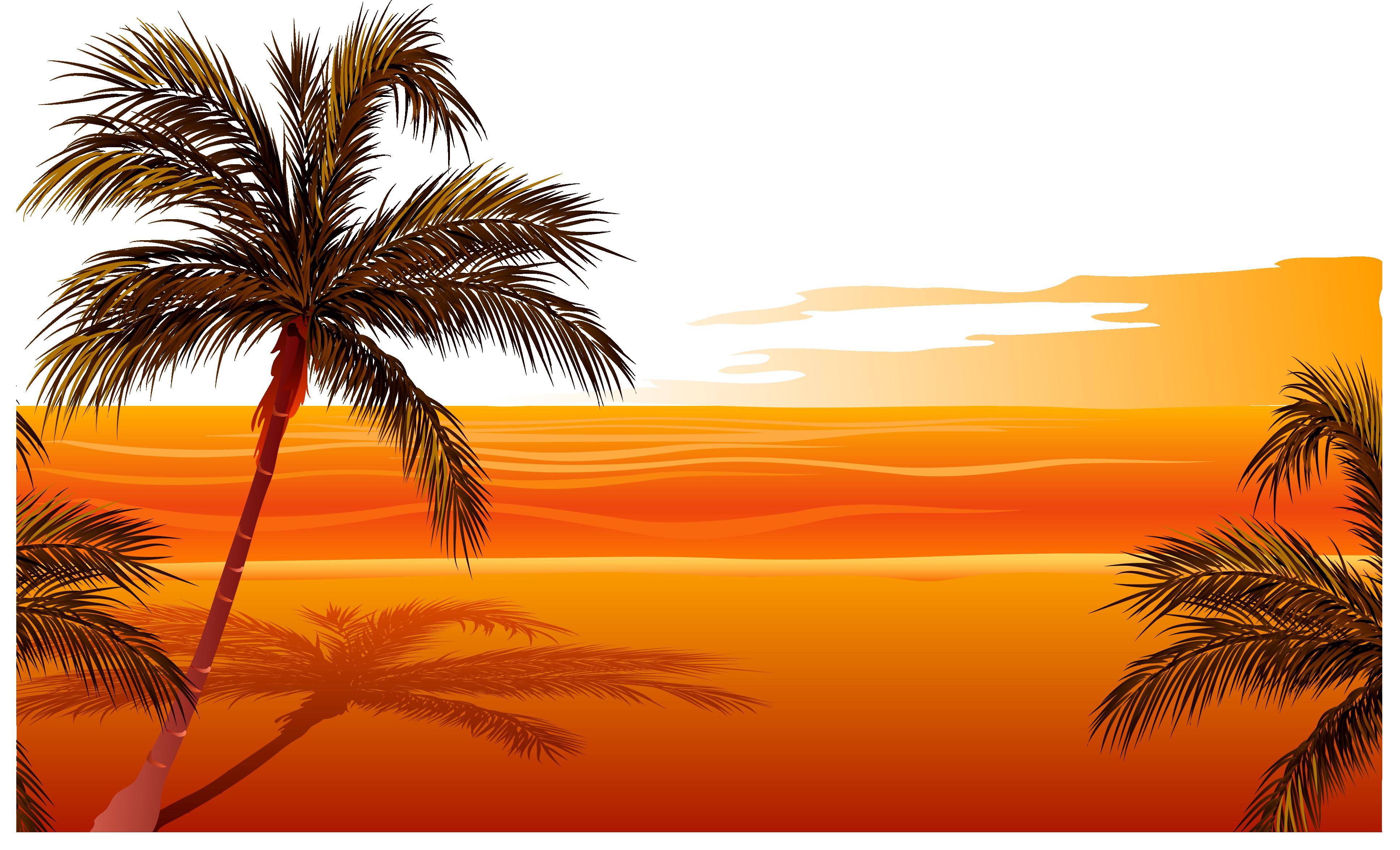 Beach Sunset Vector At Getdrawings
