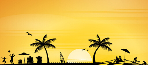499x219 Beach Silhouette Free Vector Download (6,183 Free Vector) For