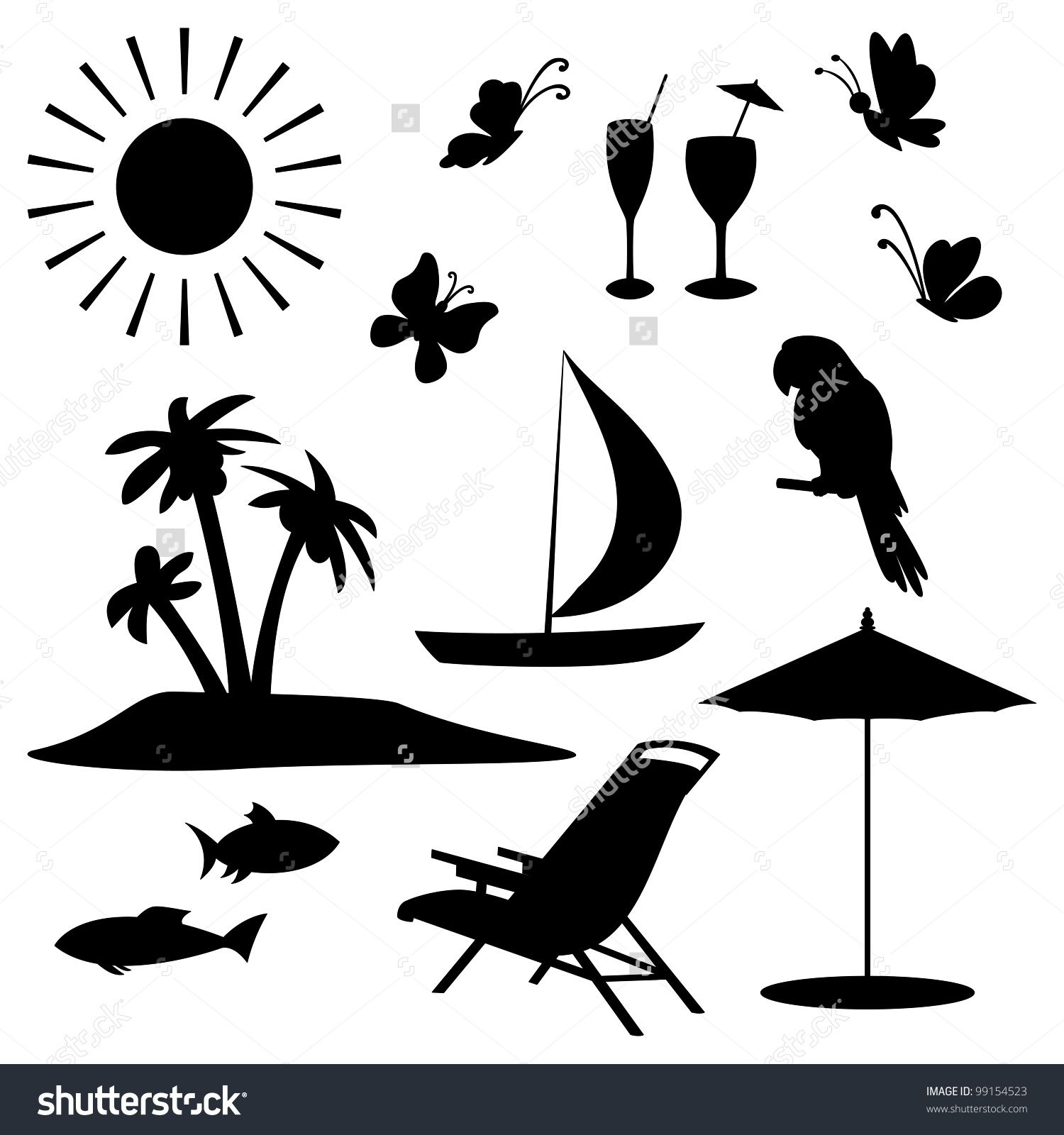 1500x1600 Beach Vector Black And White