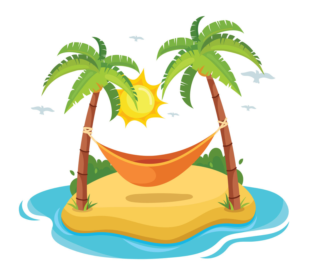 1136x936 Hammock Between Two Coconut Trees On The Beach Vector Art