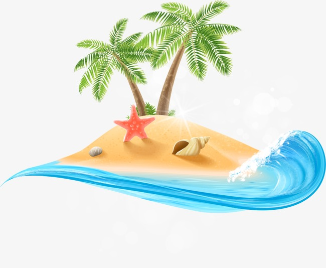 650x534 Summer Beach Vector Element, Summer Beach, Beach, Coconut Tree Png