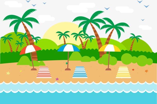 650x430 Vector Illustration Beach Scenery, Beach Vector, Beach Landscape