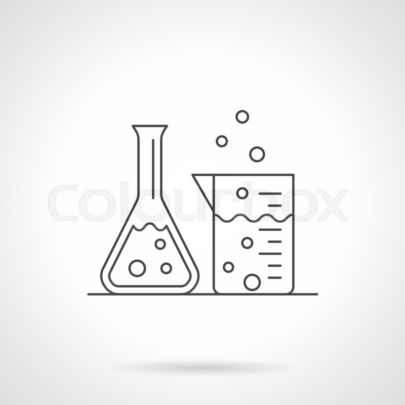 800x800 Symbol Of Conic Flask And Beaker With Liquid. Laboratory Glassware
