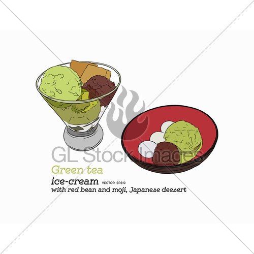 500x500 Green Tea Ice Cream With Red Bean Vector. Gl Stock Images