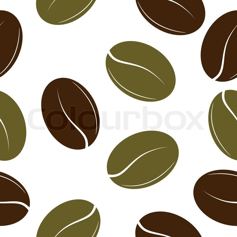 800x800 Black And Green Coffee Beans Seamless Texture Vector Stock