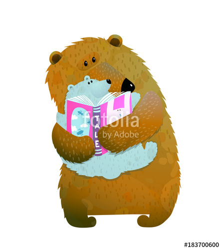 445x500 Mother Or Father Bear Reading Book To Bear Cub. Vector