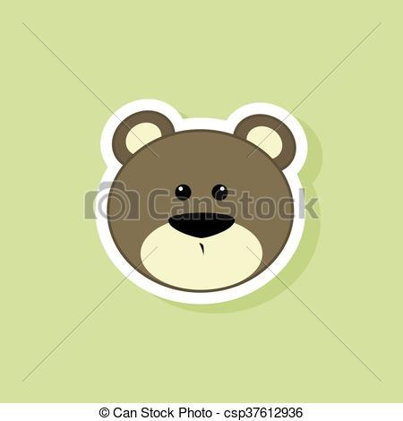 450x470 Cute Bear Face. Abstract Cute Bear Face On A Green Background.