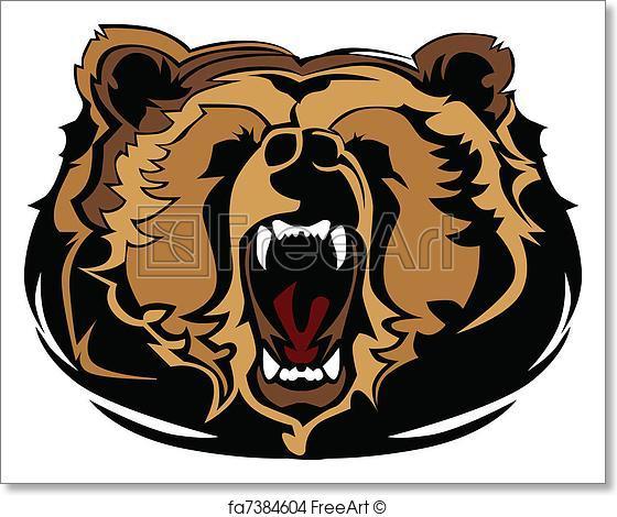 560x470 Free Art Print Of Grizzly Bear Mascot Head Vector Gra. Mascot